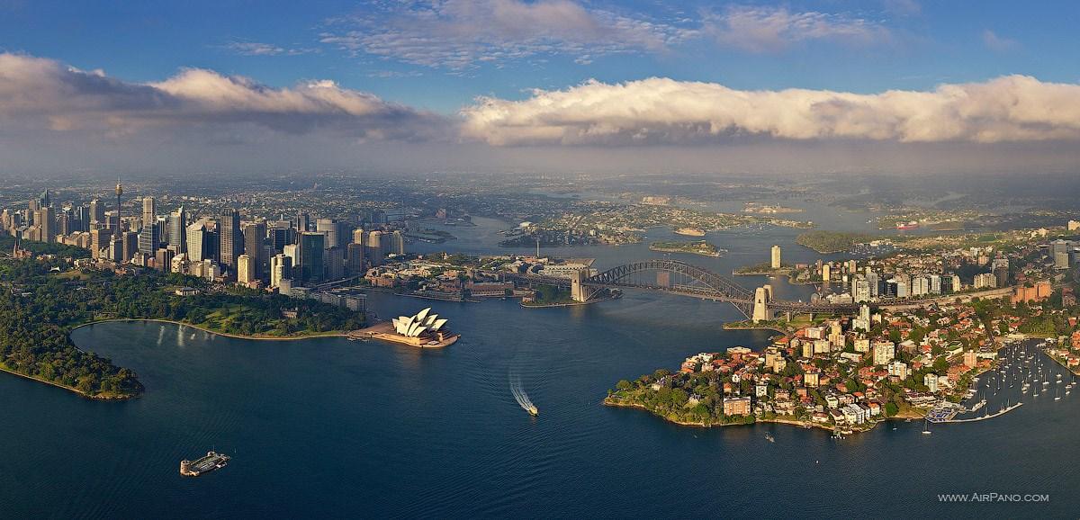 Imagem aérea de Sydney, na Austrália.