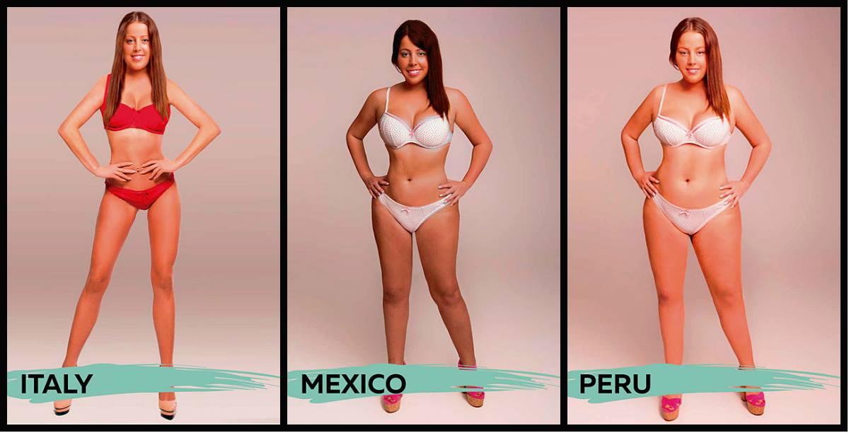 Itália, México e Peru estão em seguida e as diferenças entre um dos países mais reconhecidos pela indústria da moda e a latinidade mexicana não poderiam ser mais evidentes. Já o designer peruano optou por atenuar a imagem da modelo em cada curva, mas mantê-la com uma proporção maior do que os colegas dos demais países.
