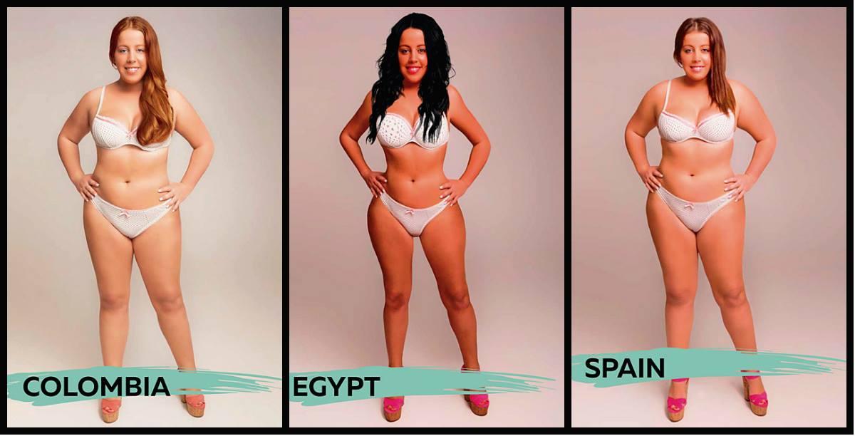 Em seguida, temos Colômbia, Egito e Espanha. Vale destacar o quão diferentes são as proporções de braços e coxas, mas o detalhe maior se apresenta nas variações de tons de pele.