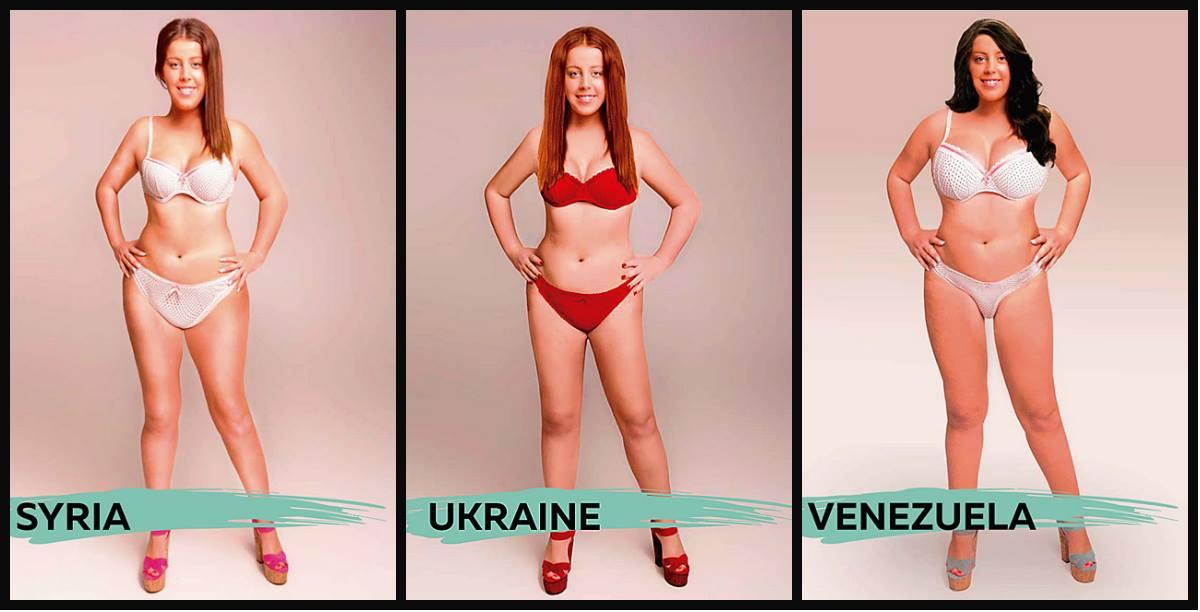 """Síria, Ucrânia e Venezuela apresentam resultados bem distantes entre si. Desde a face, até o formato do corpo e a proporção do busto. Chama a atenção, ainda, o fato de que os trajes tenham sido sutilmente alterados, o que, em si, traz carregado um pouco da cultura de cada lugar, bem mais do que a questão de """"gosto"""" por si só."""