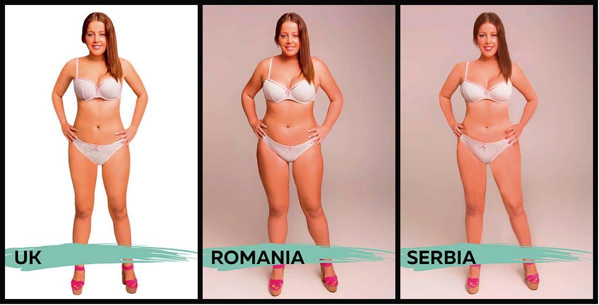 """A """"brancura"""" de Reino Unido, Romênia e Sérvia os unem nos resultados finais. O que os diferenciam são as linhas da cintura e proporção de seios e coxas, em concepções de mulher bem distintas..."""