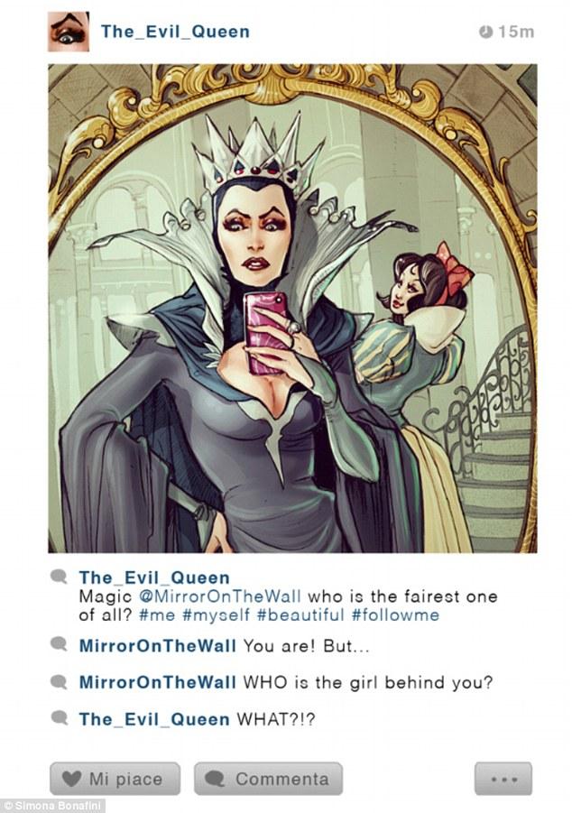 """A Bruxa Má, de Branca de Neve e Os Sete Anões: """"Espelho, espelho meu, quem é a mais justa de todos? #eu #euzinha #eumesma #bonita #mesegue"""".  E o espelho comenta: """"Mas e quem é essa garota atrás de você?"""""""