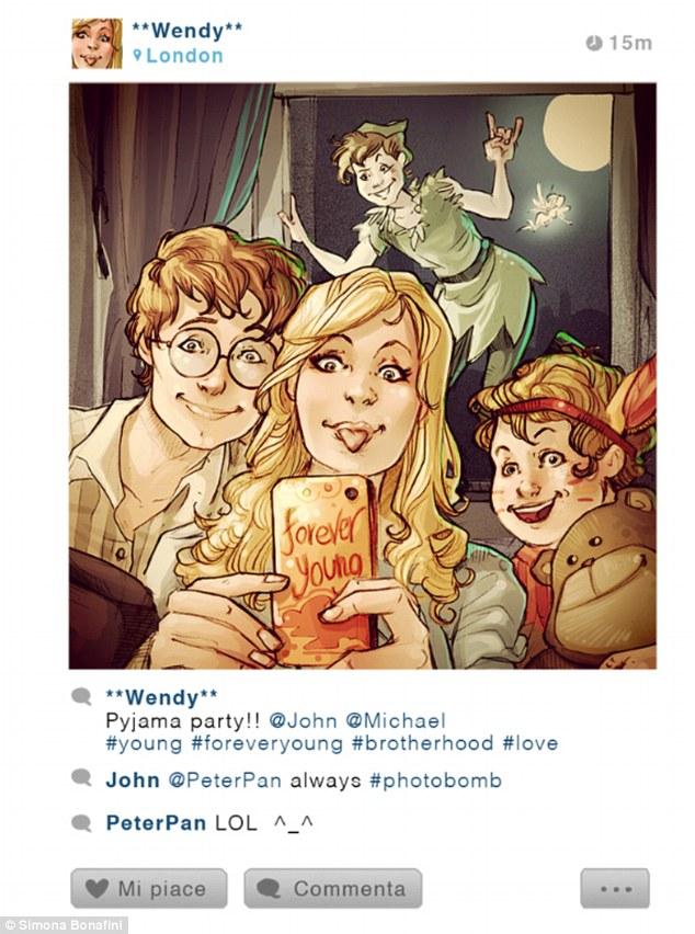 """Wendy, de Peter Pan: """"Festa do pijama #jovens #jovensparasempre #irmandade #amor"""""""