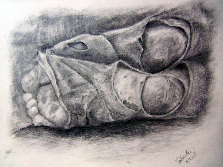 Arte de Shelley Bain sobre os pés de um sem-teto