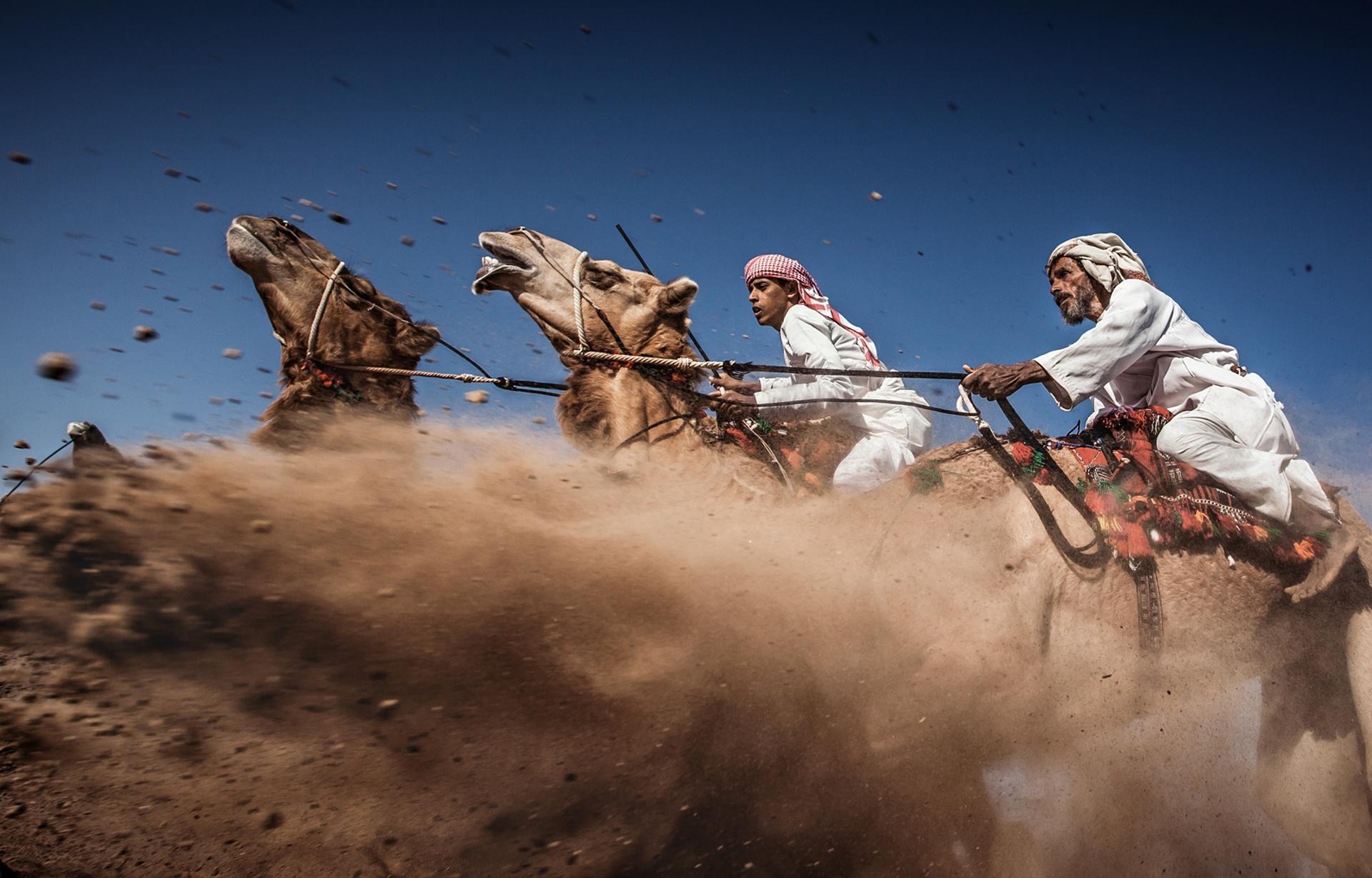 """3° LUGAR: """"Camel Ardah, estilo de corrida de camelo, em Oman"""""""