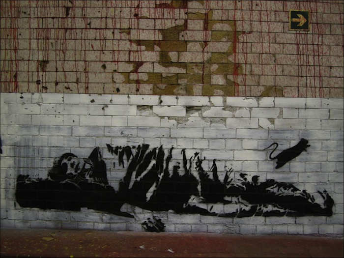 Grafite de Blek Le Rat de série sobre desabrigados