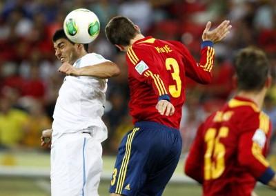 Espanha e Uruguai, na Copa das Confederações, em 16/06/2013