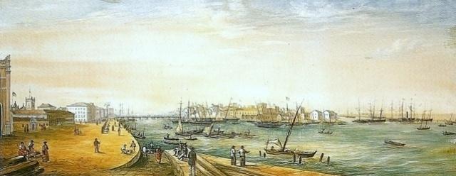 O porto do Recife no século 19, pintado por Emil Bauch.