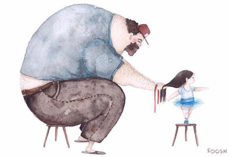 O amor de pai e filha em ilustrações de partir o coração