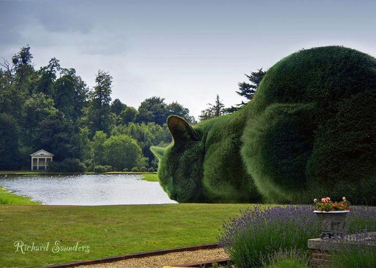 Artista surrealista cria arbustos de gatos gigantes