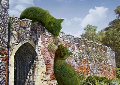 gato gigante arbusto muro