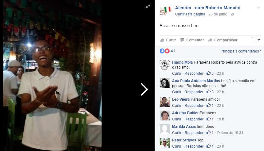 Alecrim - com Roberto Mancini/Facebook/Reprodução
