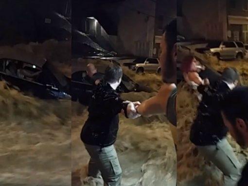 Vídeo mostra resgate dramático de motorista durante enchente
