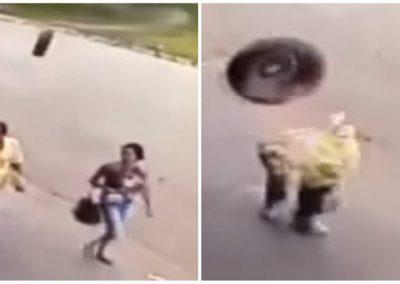 Homem sobrevive após ser atingido por pneu