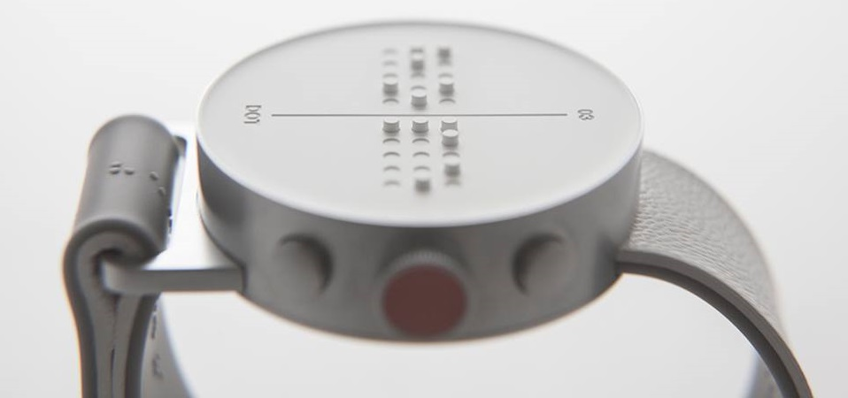 Primeiro smartwatch em Braille, da sul-coreana Dot - Facebook/Divulgação