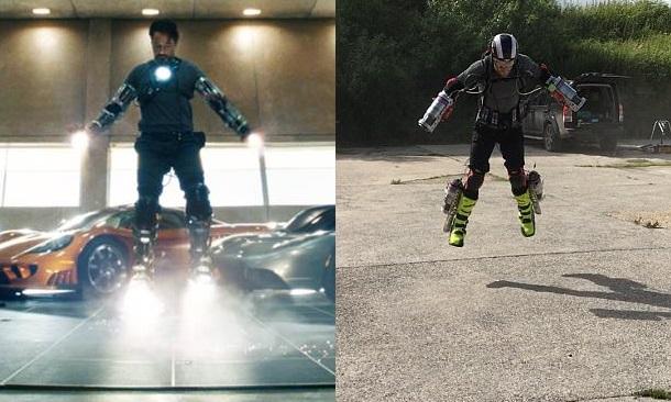 Tony Stark em Homem de Ferro e Richard Browning testando Daedalus. Foto: Gravity/Divulgação