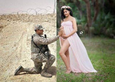 Gestante tem foto editada para inserir pai militar em missão