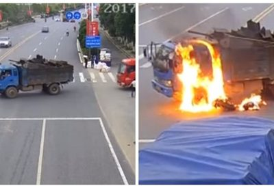 Motociclista fica em chamas após colidir com caminhão