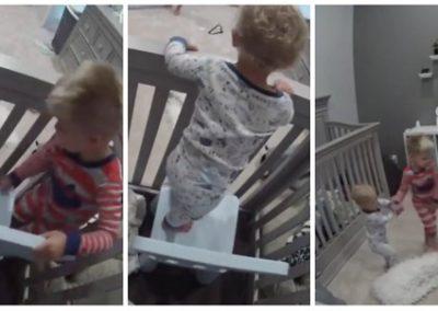 """Garoto ajuda irmão a """"fugir"""" do berço durante a madrugada"""