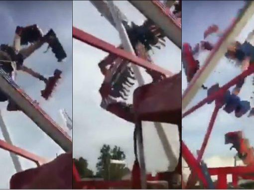 Vídeo mostra acidente com adolescentes em parque de diversões