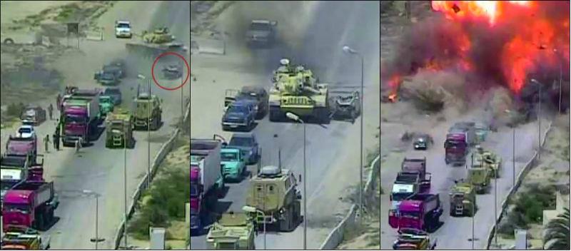 Tanque intercepta carro bomba e salva 50 civis no Egito