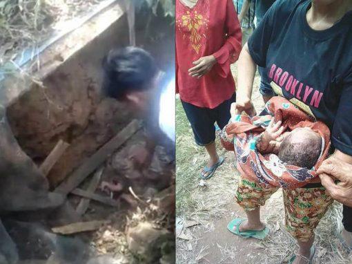 Bebê é resgatado após ser enterrado vivo em fossa