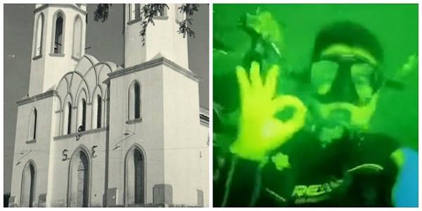 Mergulhadores encontram igreja submersa em Petrolândia, sertão de PE