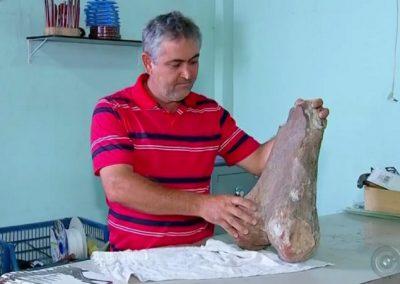 Comerciante brasileiro encontra fóssil de dinossauro no meio de estrada