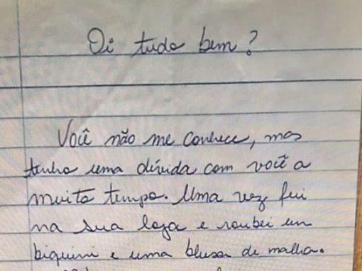Arrependida de furto, mulher devolve R$ 400 com carta anônima de desculpas