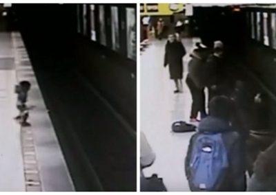 Jovem tira criança de trilhos de trem segundos antes da chegada do veículo