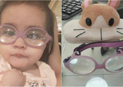 Óculos de bebê com doença rara é furtado e família faz apelo