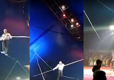 Homem cai de corda bamba a 10m de altura, se levanta e finaliza show