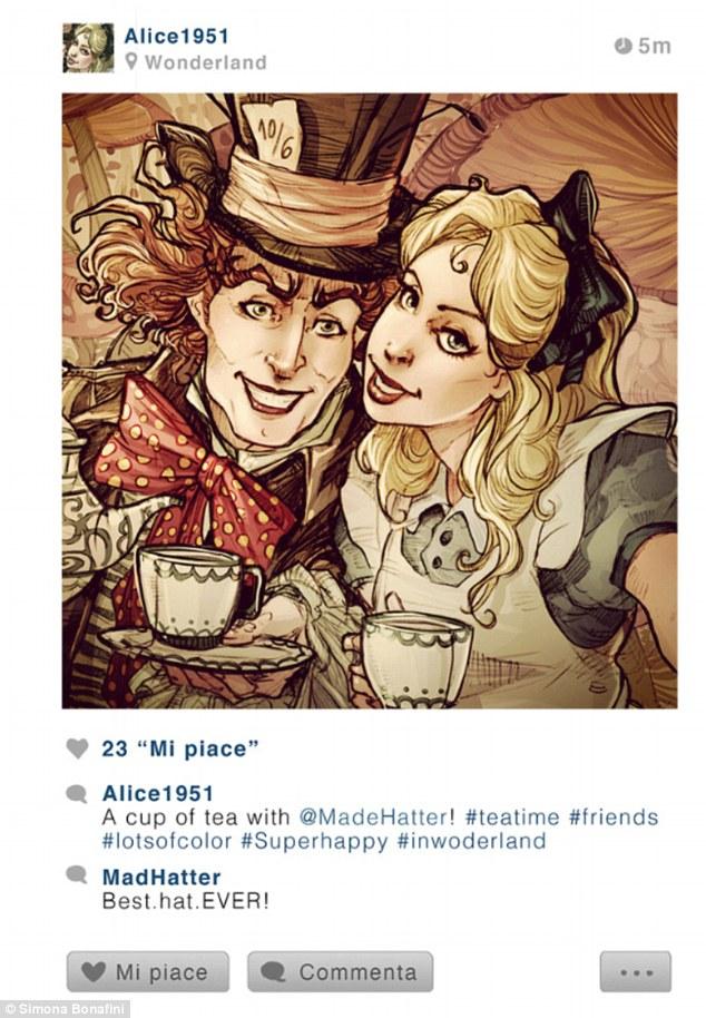 """No perfil de Alice, de Alice no País das Maravilhas: """"Um copo de chá com @ChapeleiroMaluco #horadocha #amigos #muitacor #superfeliz #nopaisdasmaravilhas""""  Chapeleiro Maluco: """"Melhor-Chapéu-Do-Mundo"""""""