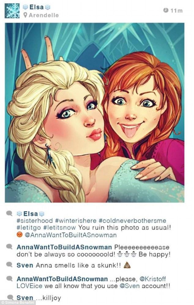 """Elsa de Frozen: """"#irmãs #oinvernochegou #ofrionuncameincomodou #livreestou #deixanevar Você sempre acaba com minhas fotos, como sempre, @AnnaQuerBrincarNaNeve"""""""