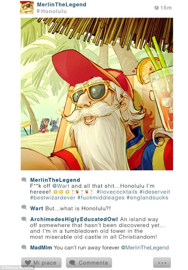 """Merlin, de A Espada Era a Lei: """"Dane-se o mundo... Honolulu (Havaí), estou aqui! #amocoqueteis #eumereco #melhormagodetodos #daneseterceiraidade"""""""