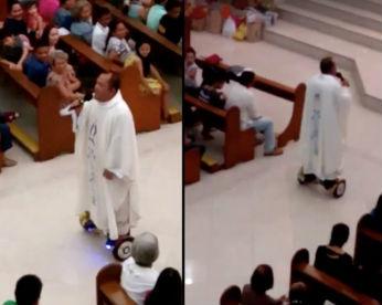 Padre reza missa utilizando hoverboard e é suspenso da Diocese