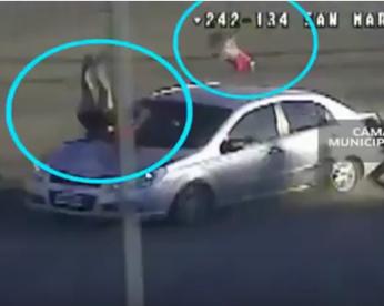 Ladrões são perseguidos e presos após atropelar mulher e bebê, na Argentina