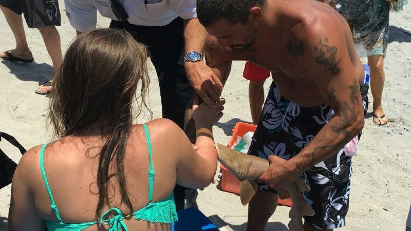 Mulher mordida por tubarão é socorrida com animal ainda no braço