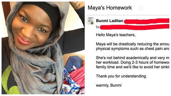 Mãe notifica escola explicando porque a filha não fará tarefa de casa