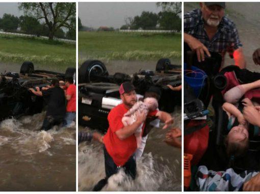 Motoristas resgatam bebê e sua irmã presas em carro durante tornardo