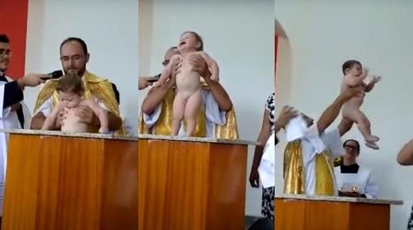 Bebê solta gargalhada e bate palmas durante batismo