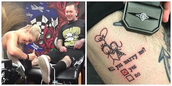 Tatuador surpreende namorada ao fazer pedido de casamento na pele