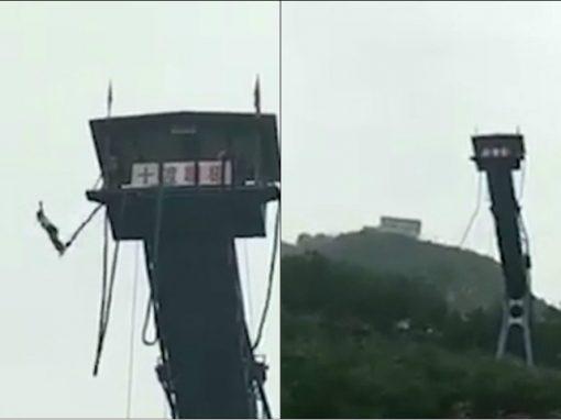 Corda de bungee jump parte e adolescente cai de 50m