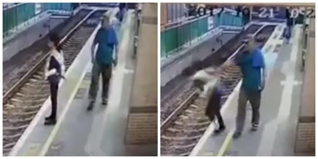 Após empurrar mulher em linha de trem, homem é preso