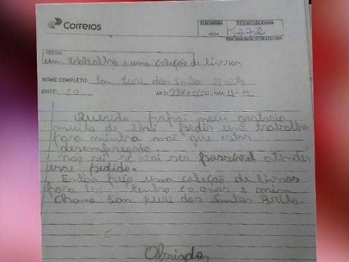 Em carta a Papai Noel, menino paraibano pede emprego para a mãe