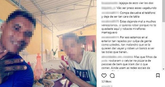 Homens roubam celular e postam foto no Instagram da vítima