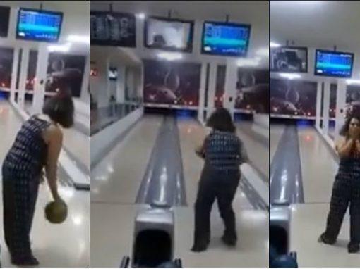 Mulher acerta bola de boliche em TV durante jogo e ganha internet