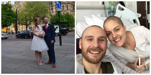 Noiva descobre câncer e organiza festa dentro de área isolada em hospital