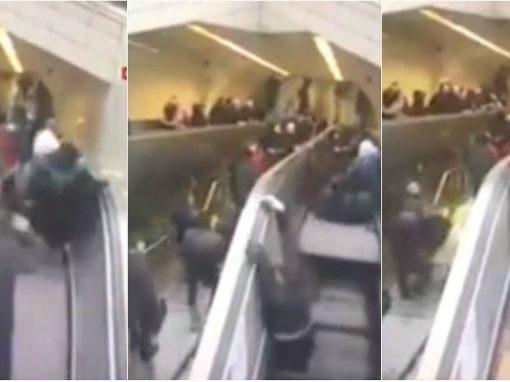"""Homem é """"engolido"""" por escada rolante quebrada"""